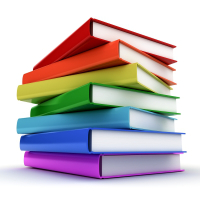 A stack of books in rainbow color